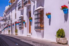 Picturesque street of Mijas. Charming white village in Andalusia Royalty Free Stock Images