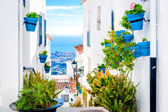 Picturesque street of Mijas with flower pots in facades Royalty Free Stock Photos