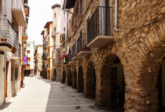 Picturesque street of old Catalan town Royalty Free Stock Photos