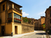 Picturesque street of old Catalan town Stock Photos