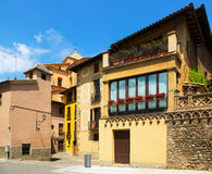 Picturesque street of old Catalan town. Vic Royalty Free Stock Photography