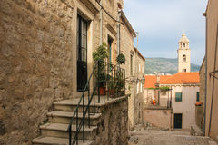 Picturesque street in the old town. Dubrovnik. Croatia Royalty Free Stock Photo