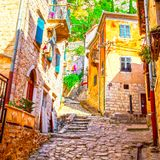 Picturesque street in Old town of Kotor Stock Images