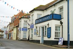 Pub and Cottages in Sheringham stock photos