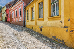 Picturesque street in Sighisoara, Romania. Royalty Free Stock Photography