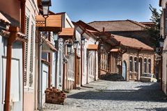Picturesque street in Sighnaghi Signagi , Kakheti , Georgia. Sighnaghi is known as a Love City in Georgia. Europe. Travels royalty free stock images