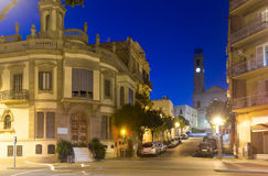 Picturesque streets of Badalona in night. Barcelona Stock Photography