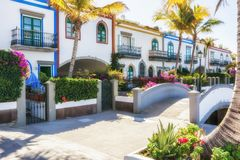 Picturesque streets at the harbor of Puerto de Mogan royalty free stock photos