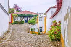 Picturesque streets of Obidos, Portugal.  Stock Photos