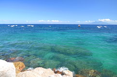 Picturesque summer landscape of beautiful beach in marina grande on capri island, Italy Stock Photography