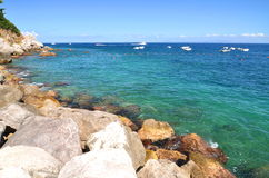 Picturesque summer landscape of beautiful beach in marina grande on capri island, Italy Royalty Free Stock Photo