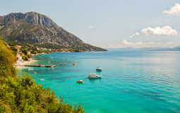 Picturesque summer landscape of Dalmatian coast in Brist and Gradac, Croatia Royalty Free Stock Images