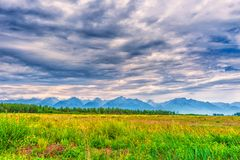 Picturesque summer landscape of mountain range with peaks, valley with green grass, grove and cloudy sky. Natural background with. Space for text. Eastern Sayan royalty free stock photo