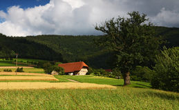 Picturesque summer landscape  in the mountains. Lonely red house in a field with mountains Royalty Free Stock Photography