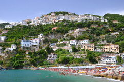 Picturesque summer landscape of vietri sul mare beach, Italy Royalty Free Stock Photos