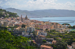 Picturesque summer landscape of vietri sul mare beach, Italy. Royalty Free Stock Image