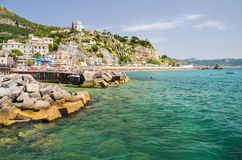 Picturesque summer landscape of vietri sul mare beach, Italy. Royalty Free Stock Photo