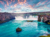 Picturesque summer morning scene on the Godafoss Waterfall. Colorful sunrise on the on Skjalfandafljot river, Iceland, Europe. Artistic style post processed stock photos