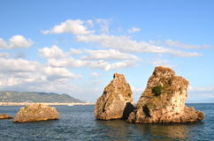 Picturesque summer rocky beach in vietri sul mare, Italy Royalty Free Stock Image
