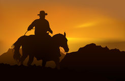 Picturesque sunset. Cowboy over realistic mountains and sunset royalty free illustration