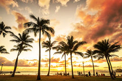 Picturesque sunset along Waikiki Beach Royalty Free Stock Photos