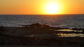 Picturesque sunset on the coast of the Mediterranean sea, Cyprus Stock Photo