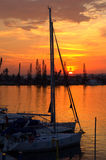 Picturesque sunset in the harbor Stock Photography