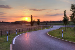 Picturesque sunset on highway. In Netherlands, Europe Stock Images