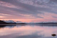 Picturesque sunset at Lake Tekapo Stock Photography