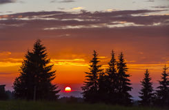 Picturesque sunset in the mountains Stock Images