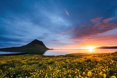 The picturesque sunset over landscapes and waterfalls. Kirkjufell mountain. Iceland stock photos