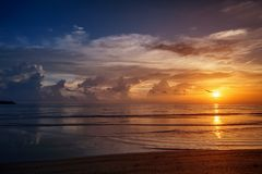 Picturesque sunset over ocean. Thailand, Phuket Royalty Free Stock Photos