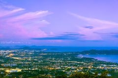 Picturesque sunset over Phuket Town nightlife. Thailand. View from above Royalty Free Stock Photo