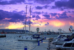 Marina picturesque sunset skyline  Royalty Free Stock Images