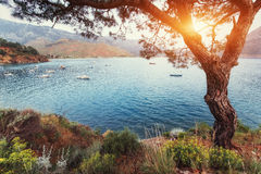 The picturesque sunset. View of the boats at sea. Turkey Royalty Free Stock Photography