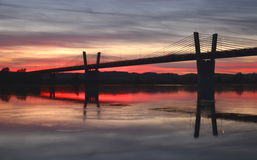 Picturesque sunset, view on bridge over Vistula river in Kwidzyn in Poland Royalty Free Stock Photos