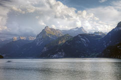 Picturesque swiss lake and alps. Before sunset, Switzerland, Europe Royalty Free Stock Photo