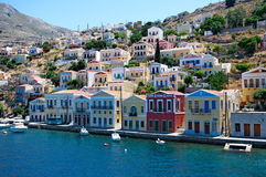 Picturesque Symi Town at Rhodes Island Stock Photos
