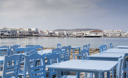 Picturesque tavern. By the sea at Mykonos Stock Image