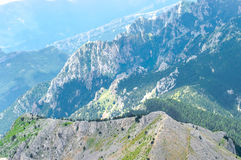 Picturesque top panoramic view of the rocky mountain ridge Stock Photos