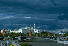 Picturesque tourist view of the Moscow Kremlin with the bridge over the Moscow river Royalty Free Stock Image