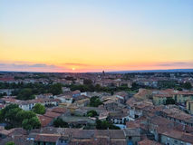 Picturesque town of Carcassonne in sunset Stock Image