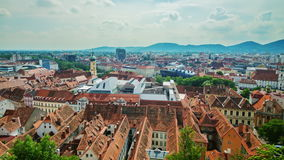 The picturesque town of Graz in Austria. Top view of the historical part of the city stock video