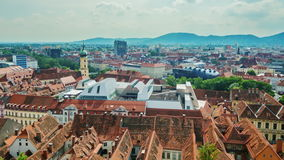 The picturesque town of Graz in Austria. Top view of the historical part of the city. Zoom video stock video footage