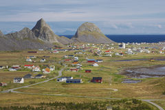Picturesque town in Norway. Picturesque town Sorland on Lofoten islands in Norway Royalty Free Stock Photography