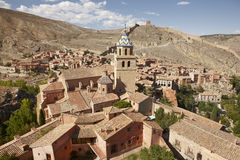 Picturesque town in Spain. Ancient houses and cathedral tower. A Stock Photography