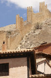 Picturesque town in Spain. Ancient houses and defending wall. Al Stock Image