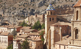 Picturesque town in Spain. Cathedral and ancient fortress. Albar Royalty Free Stock Image