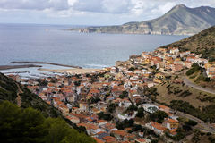 A picturesque town in the valley Buggerru,Sardinia, Italy stock photos