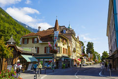 Picturesque townhouses in Interlaken Stock Photos